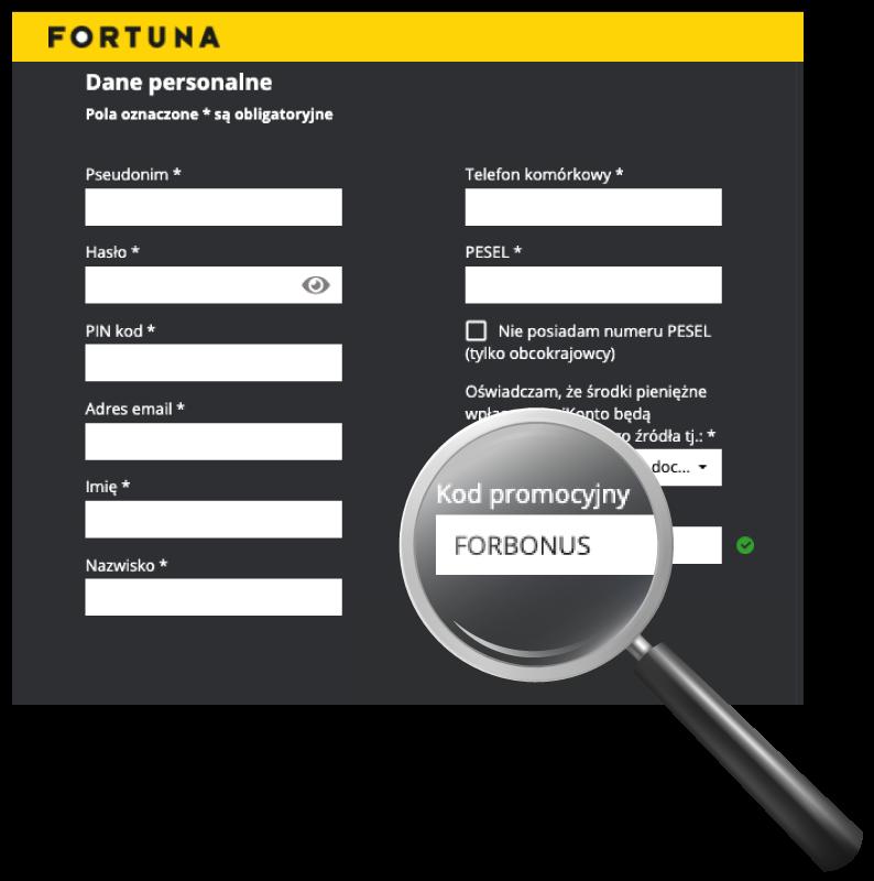 fortuna kod promocyjny rejestracja
